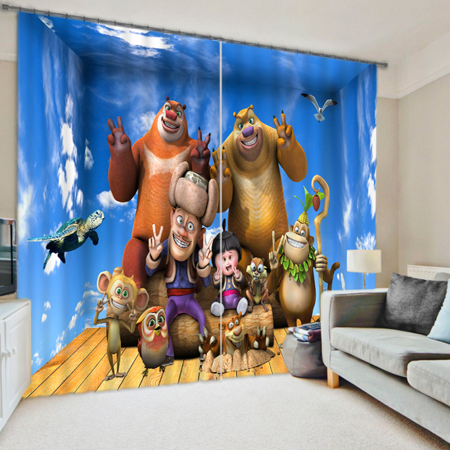 Cartoon characters anaglyph digital shutter blackout curtains children
