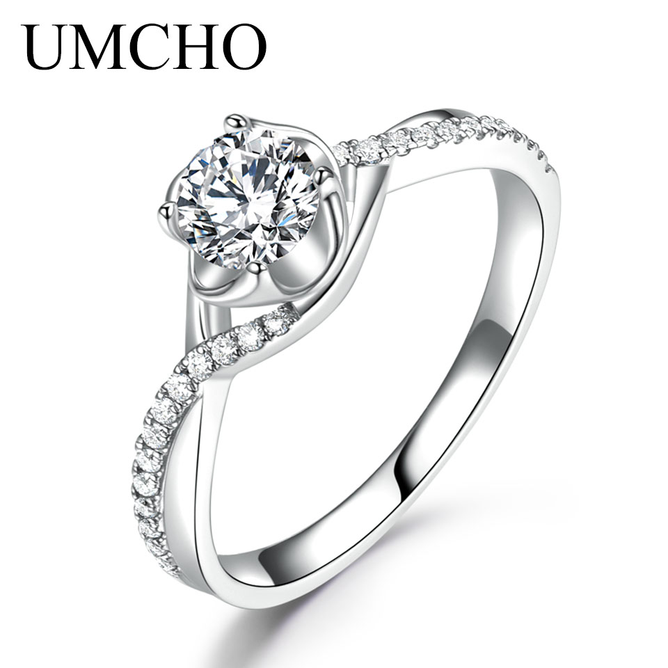 UMCHO diamant naturel Moissanite bagues de fiançailles pour les femmes solide 18 k or blanc mariage anniversaire nuptiale fête cadeau pour elle