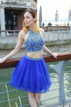 Blue Two Pieces Short Graduation Dresses 2019 Halter Tulle Skirts Prom Party Gowns Mini Crystal Homecoming