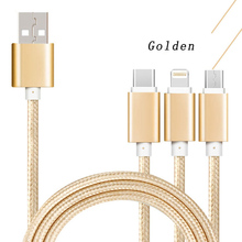 Three in one fast charging line Aluminum alloy material Full copper wire core  for andriod iphone 7/8/X and other ios products