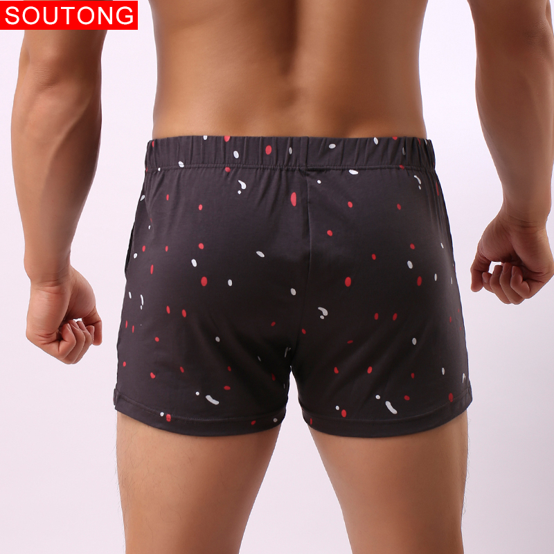 Image 5 - Soutong Men Underwear Boxers Shorts Summer Mutande Cotton Soft Printed Loose Short  Home Underpants Men's Sleep Bottoms Pant-in Boxers from Underwear & Sleepwears