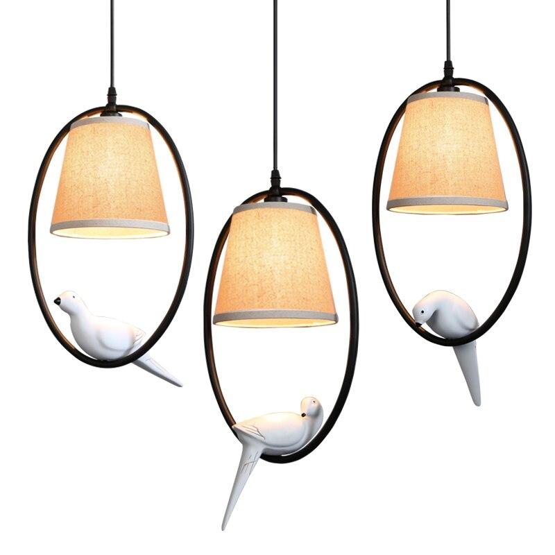 led pendant lights vintage lamp resin birds fabric lampshade for kitchen lighting dining room retro loft pendant lamp+led bulbs