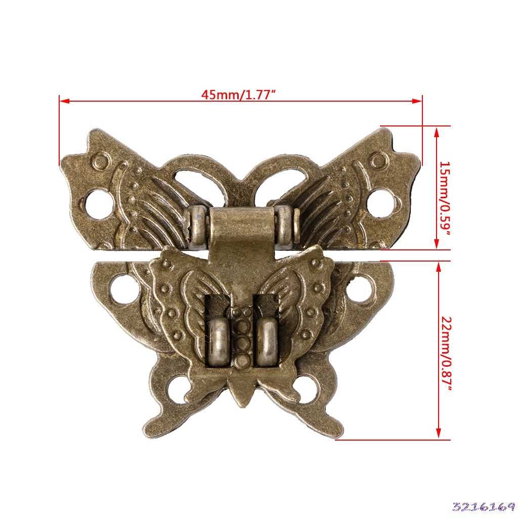 蝶アンティークブロンズ掛け金ラッチ木製ボックスミニキャビネットバックルロック 45 × 37 ミリメートル