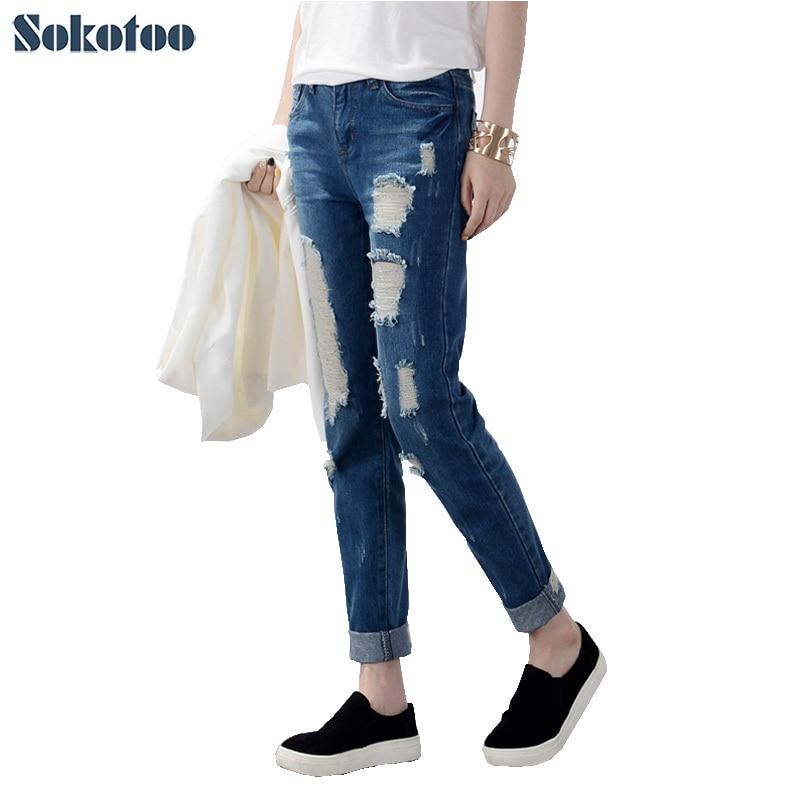 Sokotoo Hot sale Women's ripped jeans Fashion boyfriend jeans for woman Loose plus size hole denim pants