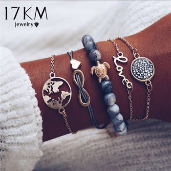 17KM Vintage Turtle Heart Map Charm Bracelets Set For Women 2 New Design Stone Beads Infinite Bracelet Boho Jewelry Wholesale