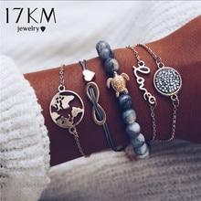 17KM Vintage Turtle Heart Map Charm Bracelets Set For Women 2 New Design Stone Beads Infinite Bracelet Boho Jewelry Wholesale