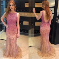 Backless Evening Gowns 2019 Backless Miss Pageant Dresses Beaded Crystal Bateau Prom Dress Mermaid Party Gown ET05