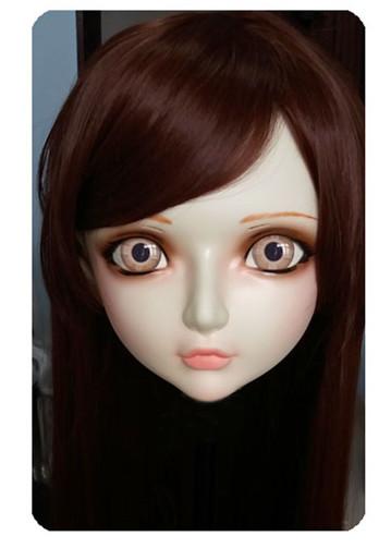 (DM017) Women/Girl Sweet Resin Half Head Kigurumi BJD Mask Cosplay Japanese Anime Lifelike Lolita Mask Crossdressing Sex Doll