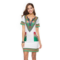 2018 Spring and Summer African Women's Wear Fashion Tight National Wind Printing New Dashiki Style Women's Dress
