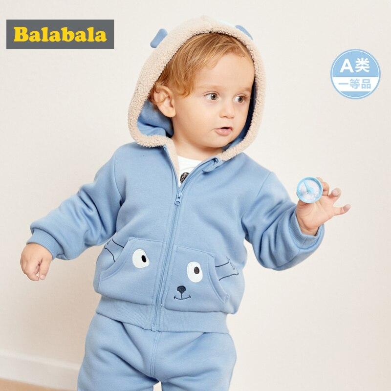 Balabala infantile bébé garçon fille Sherpa-doublé Critter à capuche veste sweat à capuche avec fermeture éclair + Pull-on pantalon ensemble nouveau-né bébé vêtements ensemble hiver
