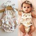 2016 Bonito Das Crianças Das Crianças Do Bebê Roupas de Menina Bodysuit Sem Mangas Verão Bebes Corpo Roupas Outfit 0-18 M