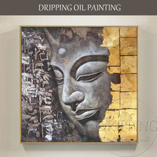 High Skilled Artist Hand-painted Quality Modern Art Buddha Figure Oil Painting Religion