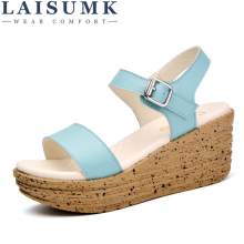 2019 LAISUMK Women Sandals Leather Flat Low Wedges Summer Shoes Open Toe Platform Casual