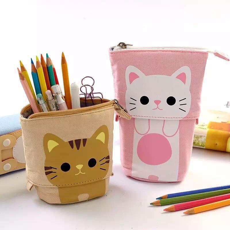 canvas Cartoon Cute Cat Telescopic Pencil Pouch Bag Stationery Pen Case Box with Zipper Closure цена 2017