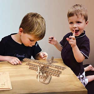 New Wooden Handwork DIY Jigsaw Toy Puzzle Beige Aircraft Personalized Construction Toy Unisex Intellectual Childen Toys