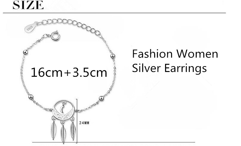 LUKENI Charm Silver 925 Bracelets For Women Jewelry Top Quality Silver Feather Bracelets Lady Bithday Party Accessories 2018 Hot in Charm Bracelets from Jewelry Accessories