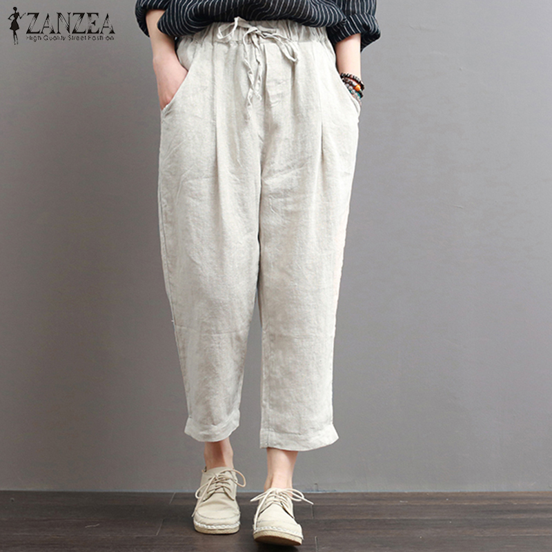 ZANZEA 2018 Summer Women Casual Harem Pants Long Trousers Pockets Elastic Waist Pantalon Femme Streetwear Sweatpants Plus Size