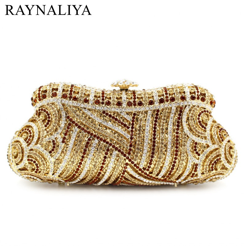 Newest Fashion Women Evening Bags Luxury Gold Rhinestone Clutch Crystal Handbags Party Purse Wedding Bag Good Sales Smyzh-e0317 women luxury rhinestone clutch beading evening bags ladies crystal wedding purses party bag diamonds minaudiere smyzh e0193
