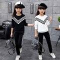 2017 Autumn Winter Style Baby Striped 2pcs/set Kids Cotton Printed School Tracksuit Uniform Sport Suit Girls Clothing Sets H26
