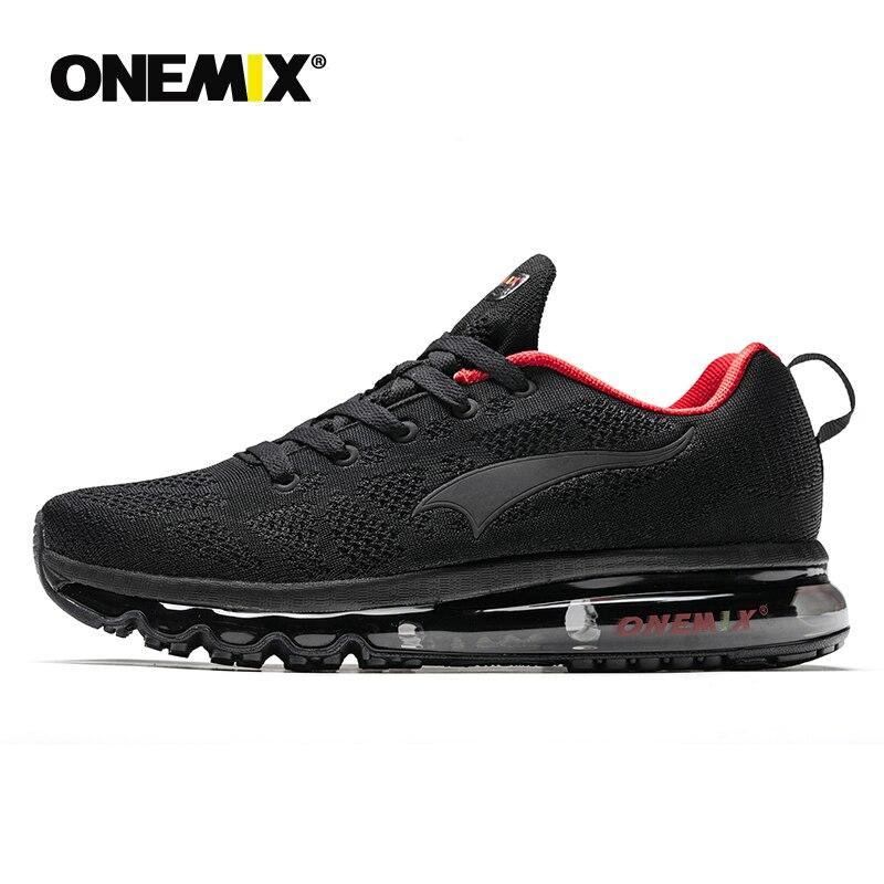 ONEMIX Men Running Shoes Para As Mulheres de Nice Zapatillas Athletic Trainers Preto Esportes Almofada de Ar de Corrida Ao Ar Livre Tênis para Caminhada