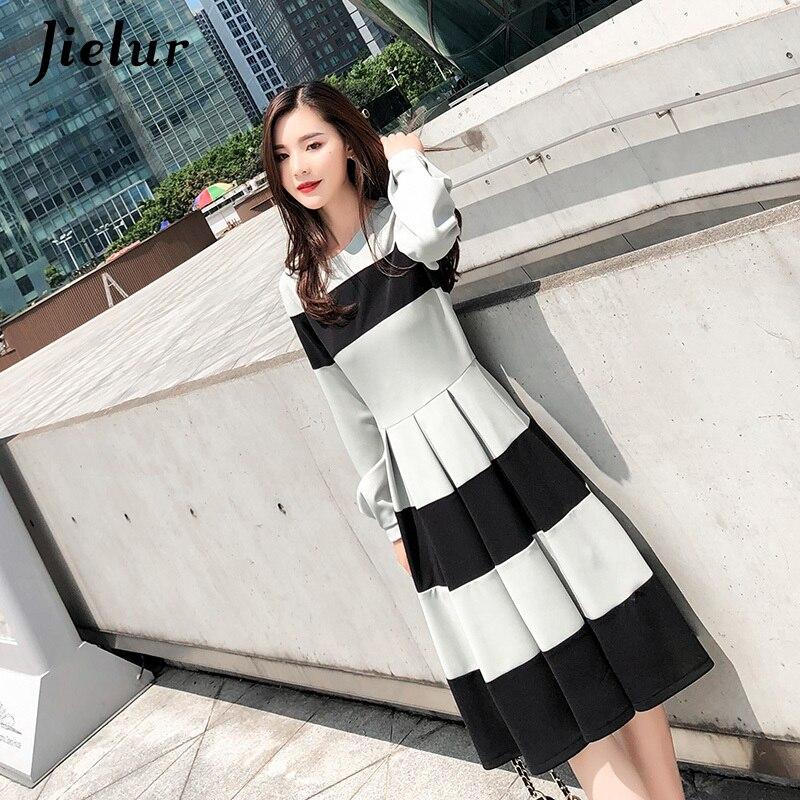 Jielur Elegant Green Black Striped Dress for Women Winter Autumn Lantern Sleeve Ladies Dresses S-XL Hipster Midi Dress Fashion