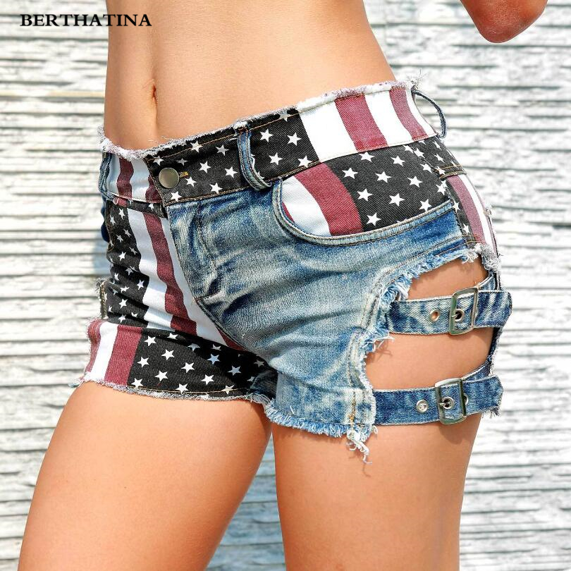 BERTHATINA 2018 Women Sexy Shorts Jeans Woman Skinny Women Summer Denim Hot Beach Nightclub Bottoms US flag ladies Calca Jeans