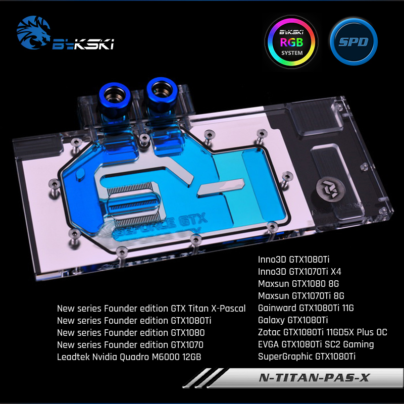 Bykski N-TITAN-PAS-X Pilna vāka grafikas kartes ūdens dzesēšanas bloks jaunam dibinātājam GTX Titan X-Pascal, GTX1080Ti / 1080/1070, M6000