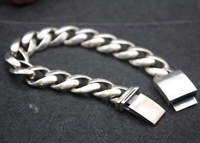 Nouveau pur 925 Bracelet en argent Sterling 14mm Bracelet pour hommes lien de bordure 23.5 cmNouveau pur 925 Bracelet en argent Sterling 14mm Bracelet pour hommes lien de bordure 23.5 cm