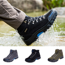 Men Outdoor Sneakers Cotton Fabric Lace-up Hiking Shoes Waterproof Anti-Skidding