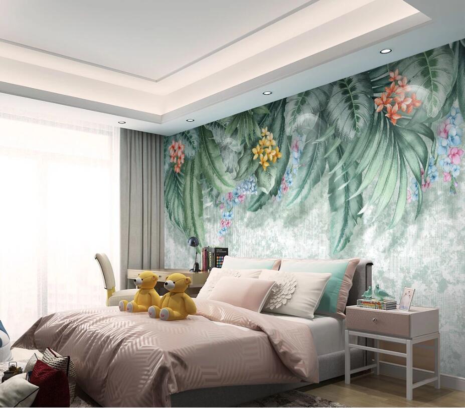Custom wallpaper mural wall hand-painted tropical plants leaves floral TV bedroom living room background wallpaper...