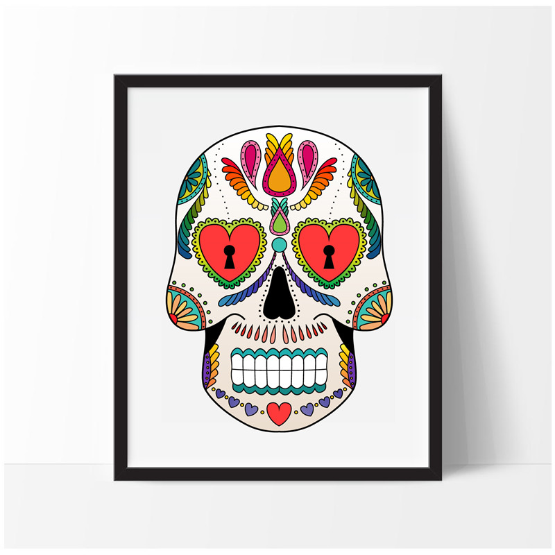 colorful sugar skulls art decor canvas painting wall picture