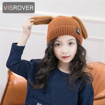 Visrover 5 цветов милые детские вязаные шапки с собачьими ушками Unsix теплая зимняя