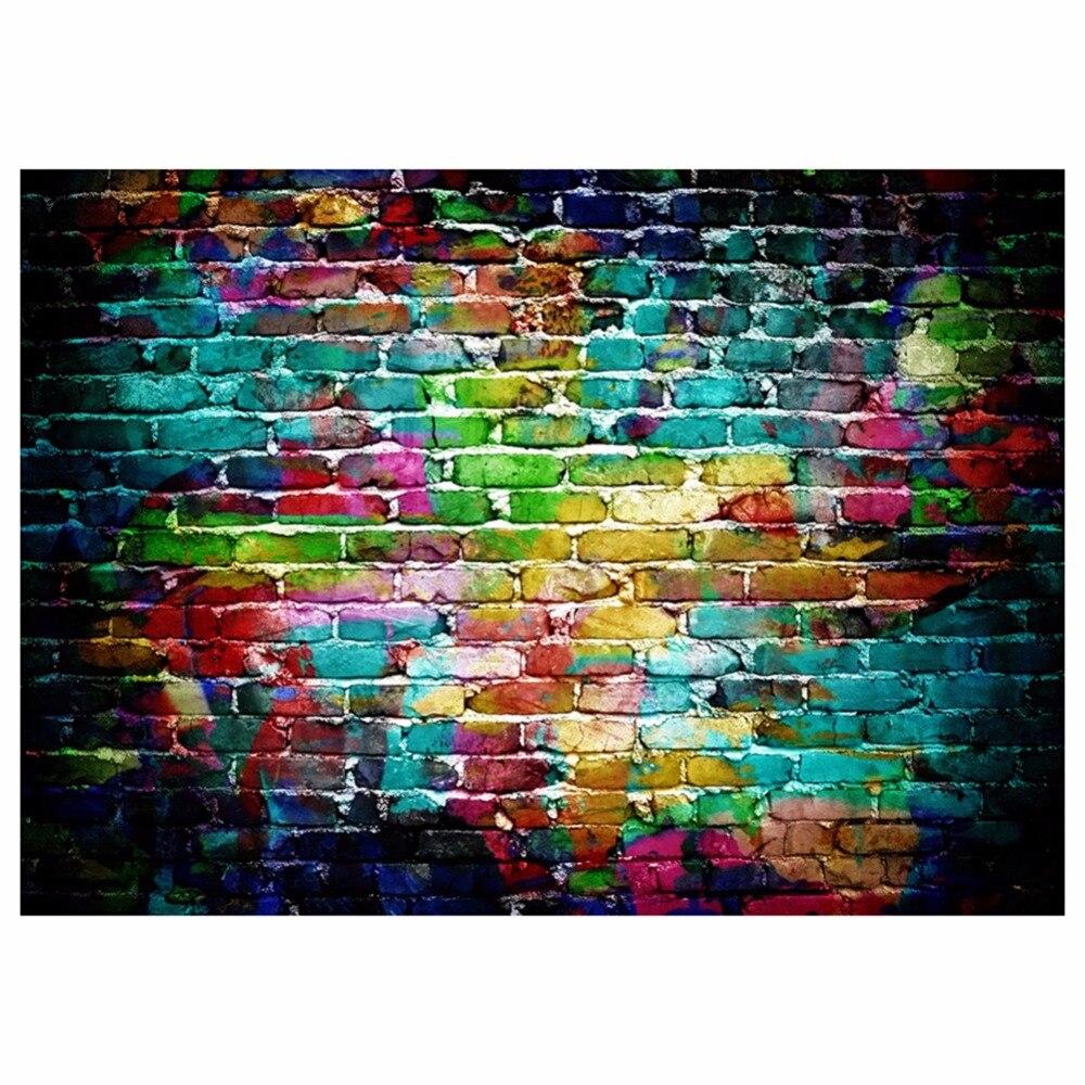ALLOYSEED Photo Live Background Backdrop Graffiti Brick Wall Art Fabric Backdrop Photography Background for Merry Christmas