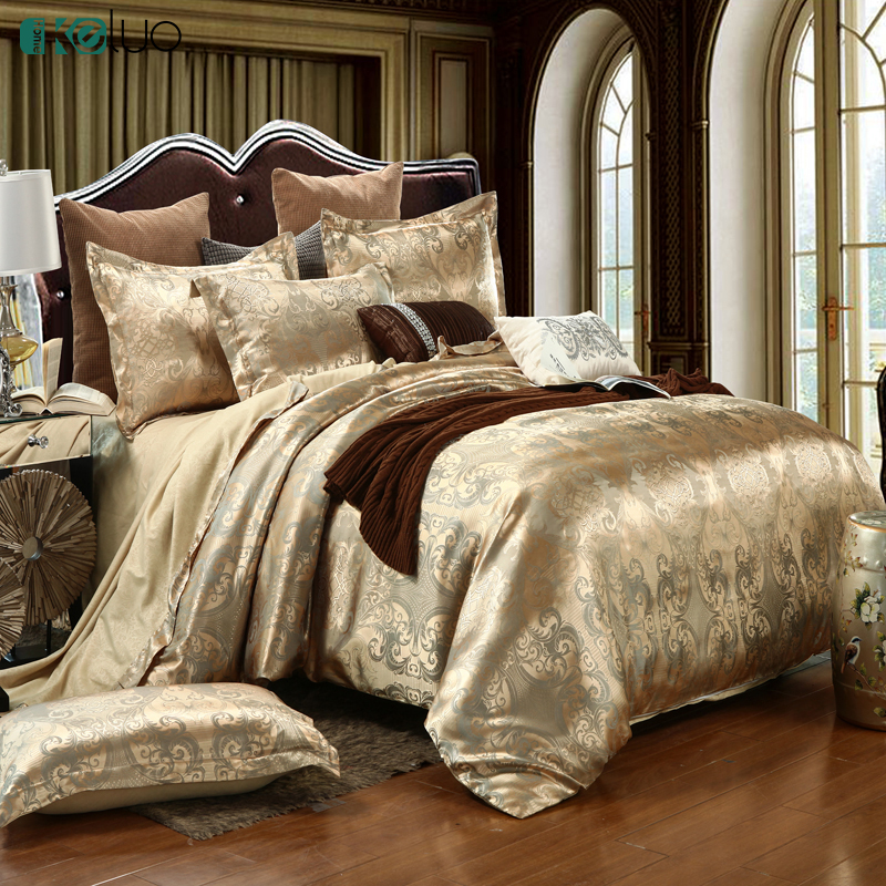 KELUO Wedding Luxury Bedding Sets Jacquard Queen/King Size Duvet Cover Set wedding Bedclothes Bed Linen bed sheetKELUO Wedding Luxury Bedding Sets Jacquard Queen/King Size Duvet Cover Set wedding Bedclothes Bed Linen bed sheet