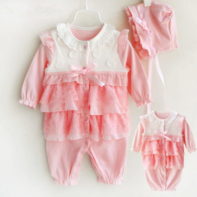 Newborn Baby Girls Romper Infant Bebe Cotton Rompers Princess Jumpsuit Overalls
