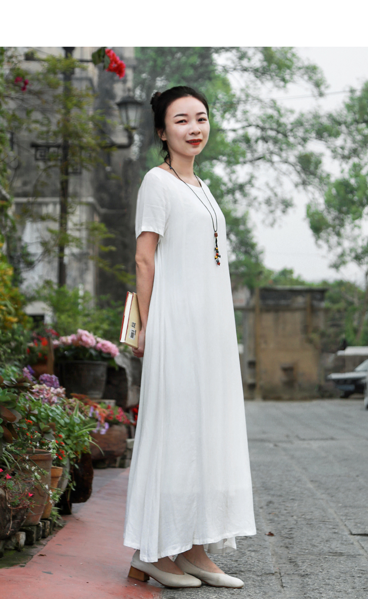 LZJN Cotton Linen Dress Women Casual Loose Summer Beach White Dresses Ladies Short Sleeve Maxi Long Vestido Robe Femme Plus Size (10)