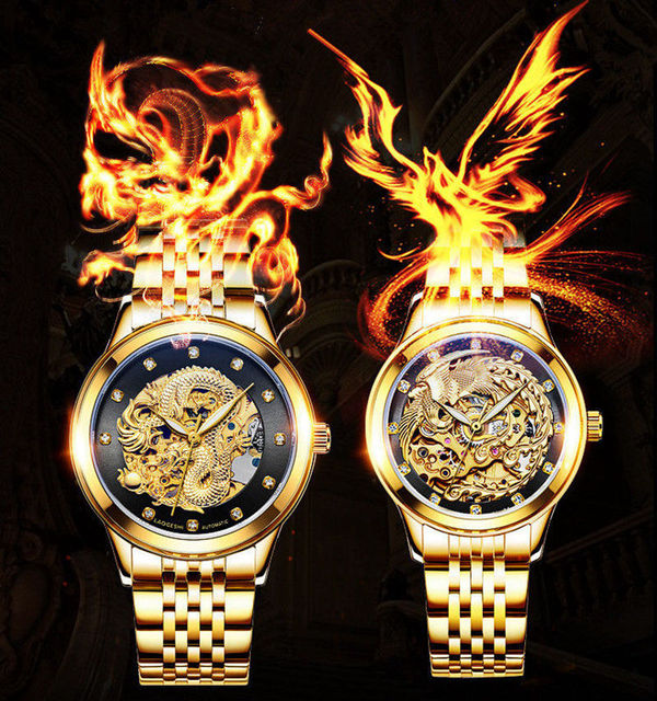 LAOGESHI New Luxury Brand Couple Gold Watch Automatic Mechanical Watches For Men