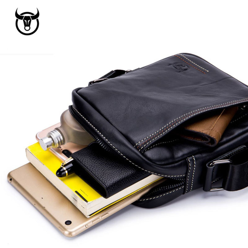 100 Genuine Leather Men 39 s Messenger Bag small cow leather shoulder bag for male fashion man Handbags vintage Men crossbody Bag in Crossbody Bags from Luggage amp Bags