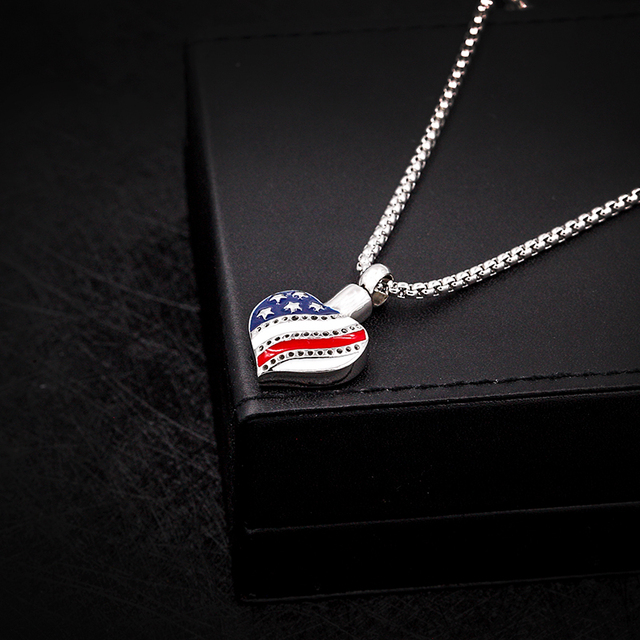 Heart Shaped US Flag Memorial Necklace