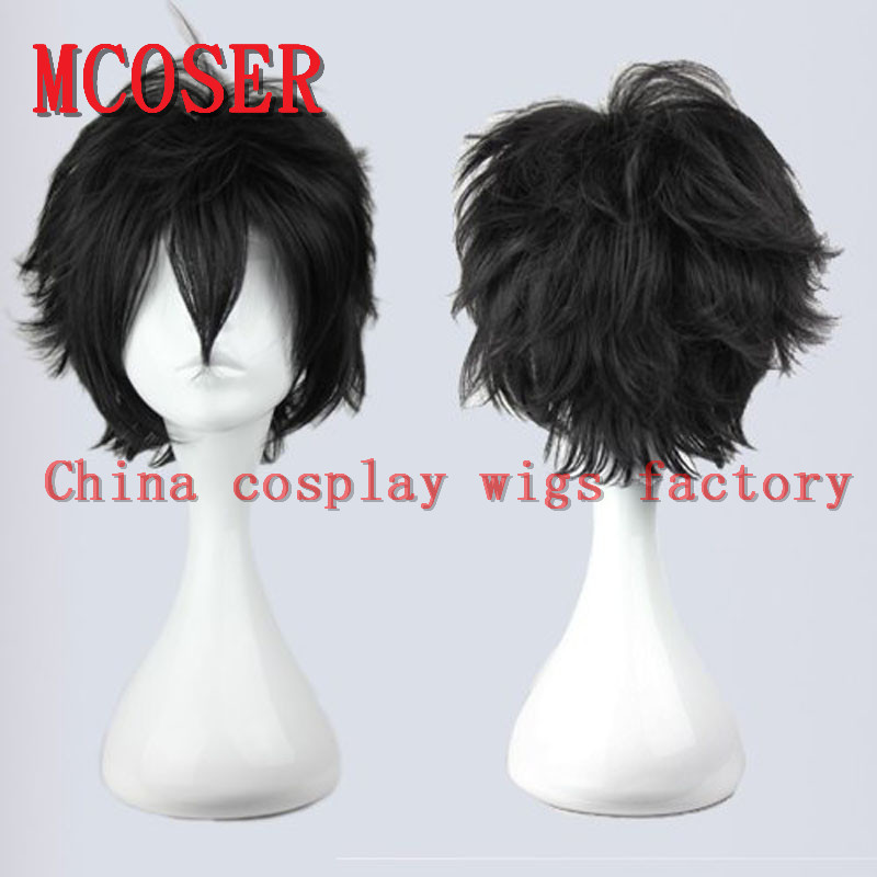 MCOSER Lolita Party Synthetic Hair Short Black Cosplay arcana famiglia- Luca Anime Full Wig