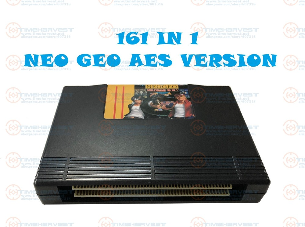 New Arrival Arcade Cassette 161 in 1 NEO GEO AES multi games Cartridge NeoGeo 161 in 1 AES version for Family AES Game Console image