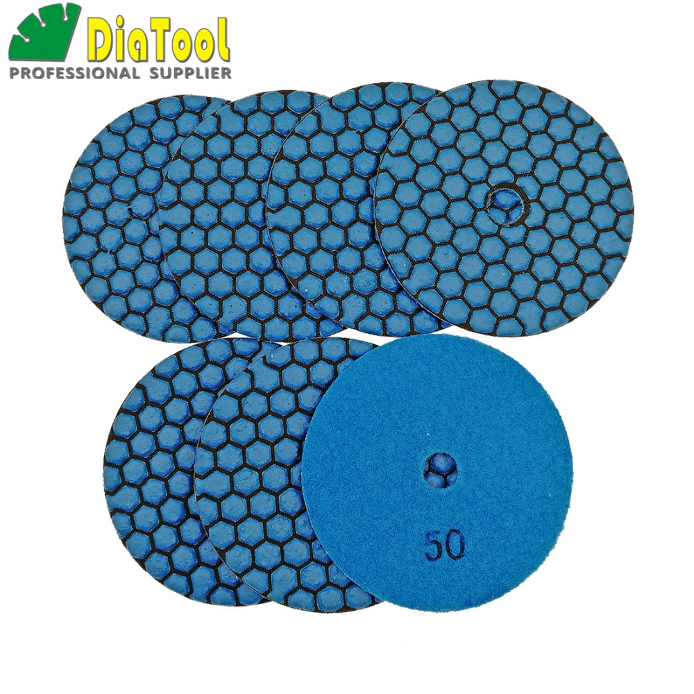 DIATOOL 7pcs 100mm #50-1 B Dry Polishing Pads Diameter 4inch Resin Bond Diamond Flexible Polishing Pads Sanding Disc