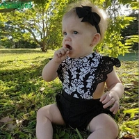 CHAMSGEND Fashion Black Newborn Kids Baby Girls Cotton Lace Sleeveless Printing Lace Romper Jumpsuit Clothes Outfit jul21 P30