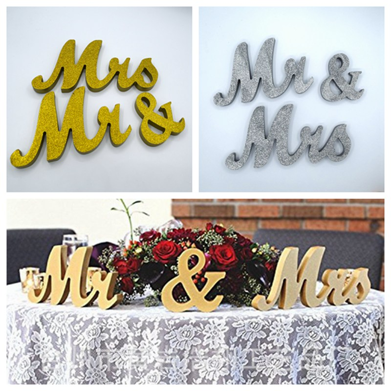 Wedding Table Centerpiece Decoration Golden Glitter Mr & Mrs Wooden Letter Wedding Marriage Photo Booth Prop Party Favors