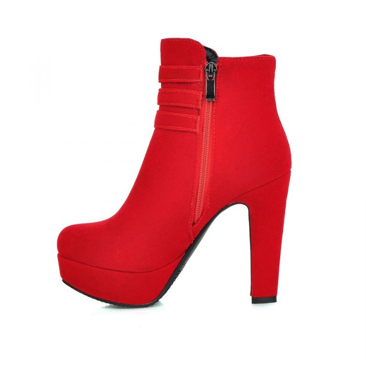 2016New arrive hot sale round toe ankle boots thick high heel shoes short winter fashion sexy warm buckle women red boot pumps