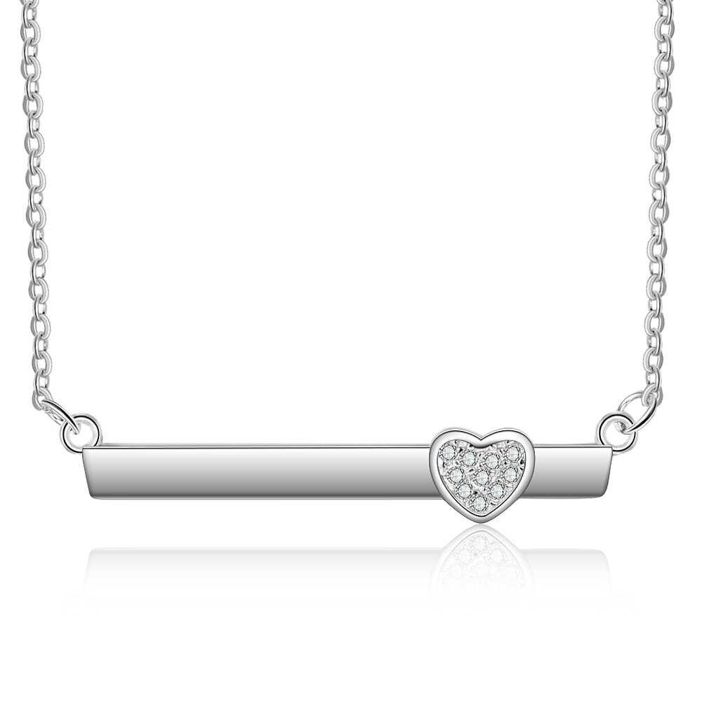 Personnalisé nom Bar collier mode bijoux coeur forme pendentif personnalisé nom Simple plaque collier anniversaire cadeau pour les femmes