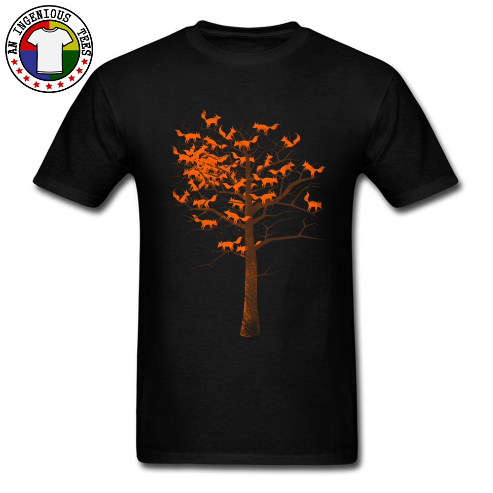 Autumn Blazing Fox Tree Prined On Tshirt Men's Fashion Awesome Design T-Shirt Pure Cotton Round Collar Casual Tees Sweater