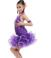 Najnowszy styl Pomponem biały/fioletowy Praktyka Latin Dance Strój Dla Gimnastyka childrens tango/salsa/samba/rumba taniec sukienki