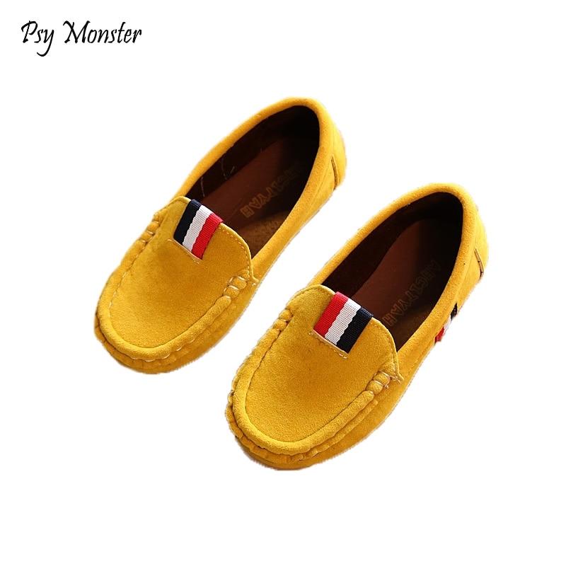 2018 Új Őszi Fiúk Gyermekcipők Gyerekfiúk PU Bőrcipők Gyerekek Moccasin Loafers Kisgyermekek Alkalmi Egyágyas Lakások C301