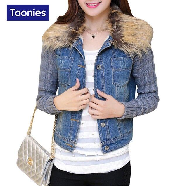 Vaquero coreano Chaqueta de Abrigo de Las Mujeres Cuello de Piel de Solid Blue Jeans Chaquetas Con Capucha Casual Short Denim Abrigos de Primavera Femenina Otoño Tops